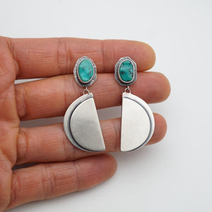 bohemian turquoise dangle earrings half moon