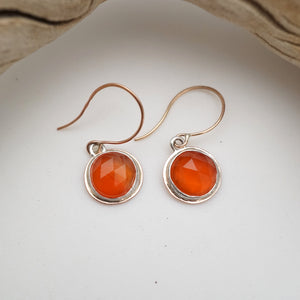 the tiniest faceted carnelian dangles in 14k rosegold