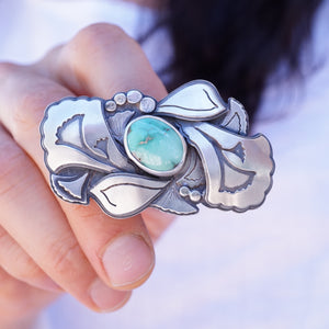 big beauty floral ring with cheyenne turquoise - size 7.25-7.5