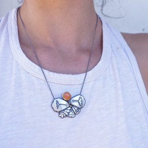 arizona poppy necklace with carnelian + 18k gold with adjustable chain
