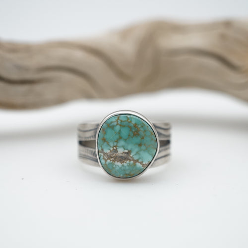cheyenne turquoise ring with split shank - size 8