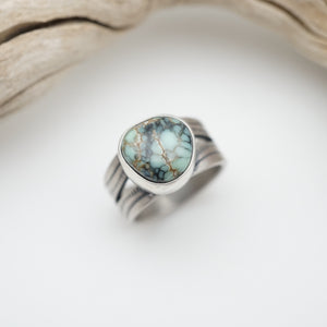 poseidon variscite ring with split shank - size 6.25/6.5