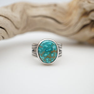 sierra nevada turquoise ring with split shank - size 4.5