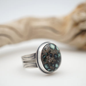 poseidon variscite ring with split shank - size 7.75/8