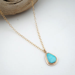 "dainty kingman turquoise + 14k goldfill necklace - 16"" chain"