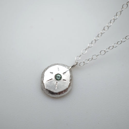 seafoam tourmaline flush-set necklace in silver