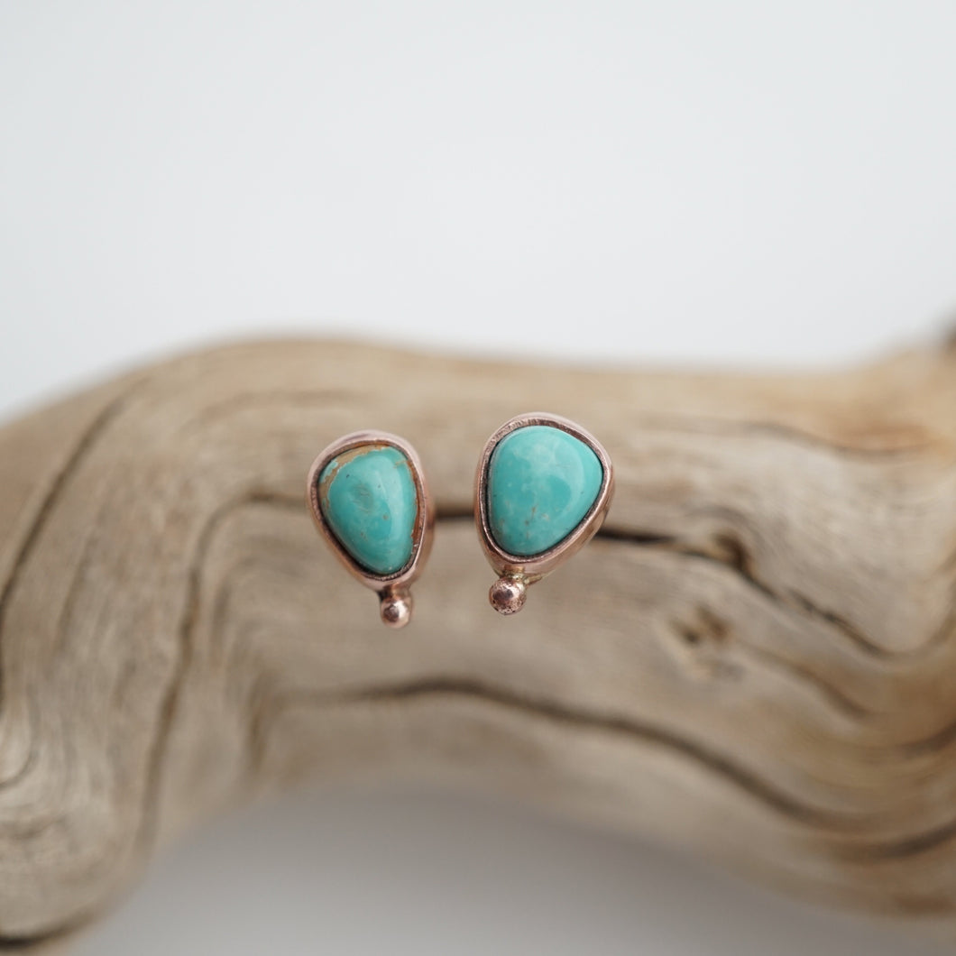 rose gold and royston turquoise stud earrings