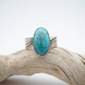 oval turquoise and silver ring