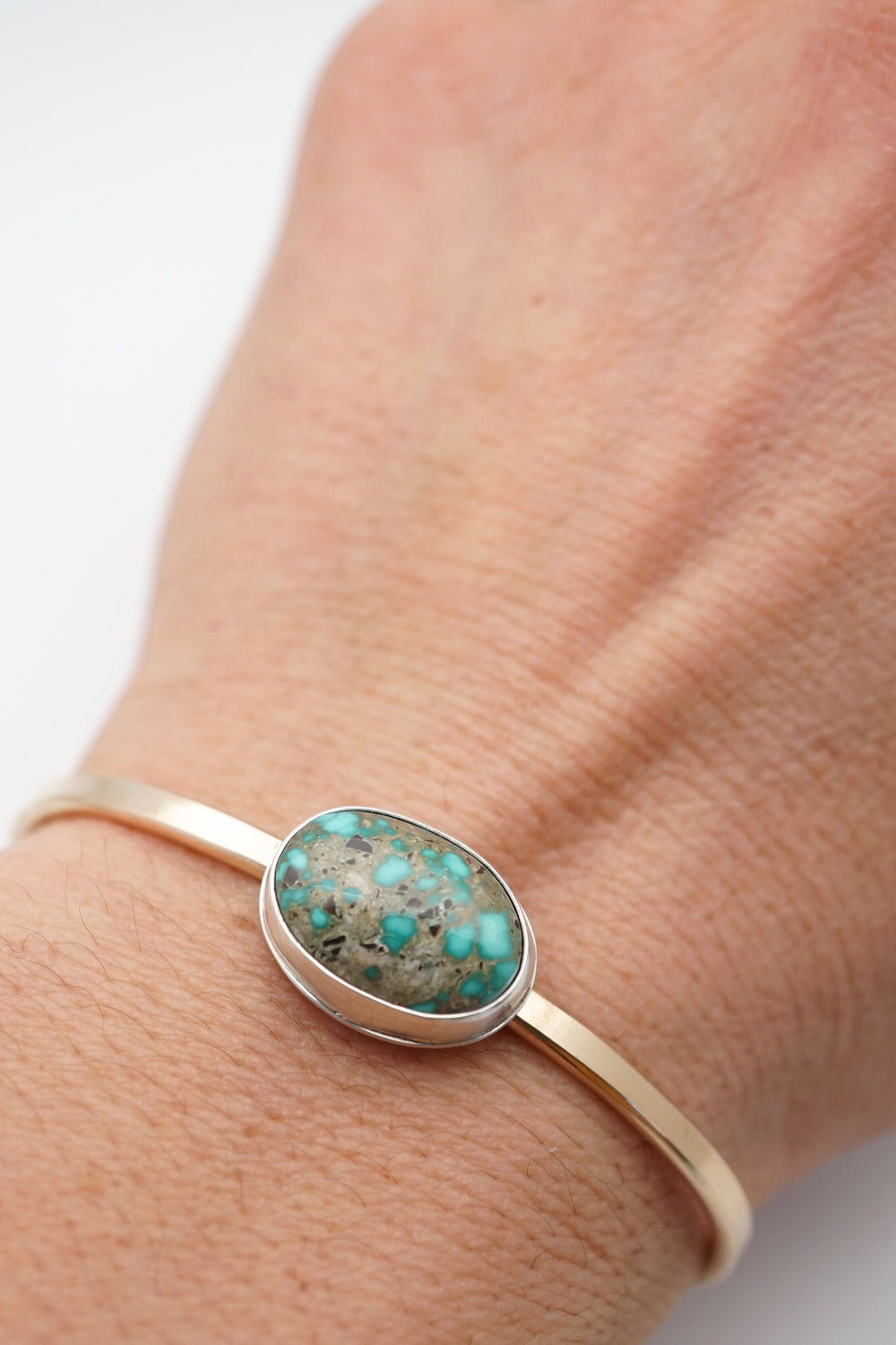 carico lake turquoise cuff in gold
