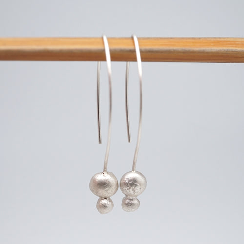 liquid silver double drop dangle earrings