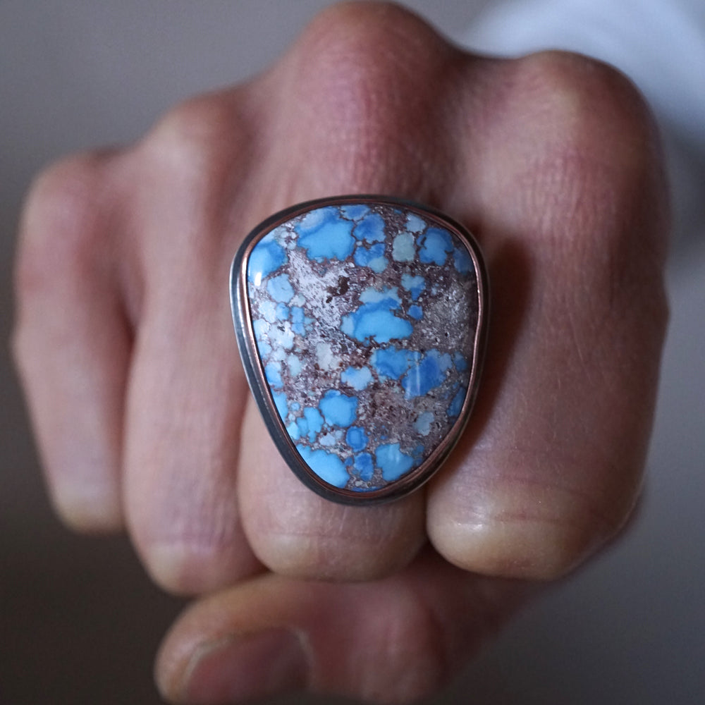 lavender turquoise ring with copper bezel