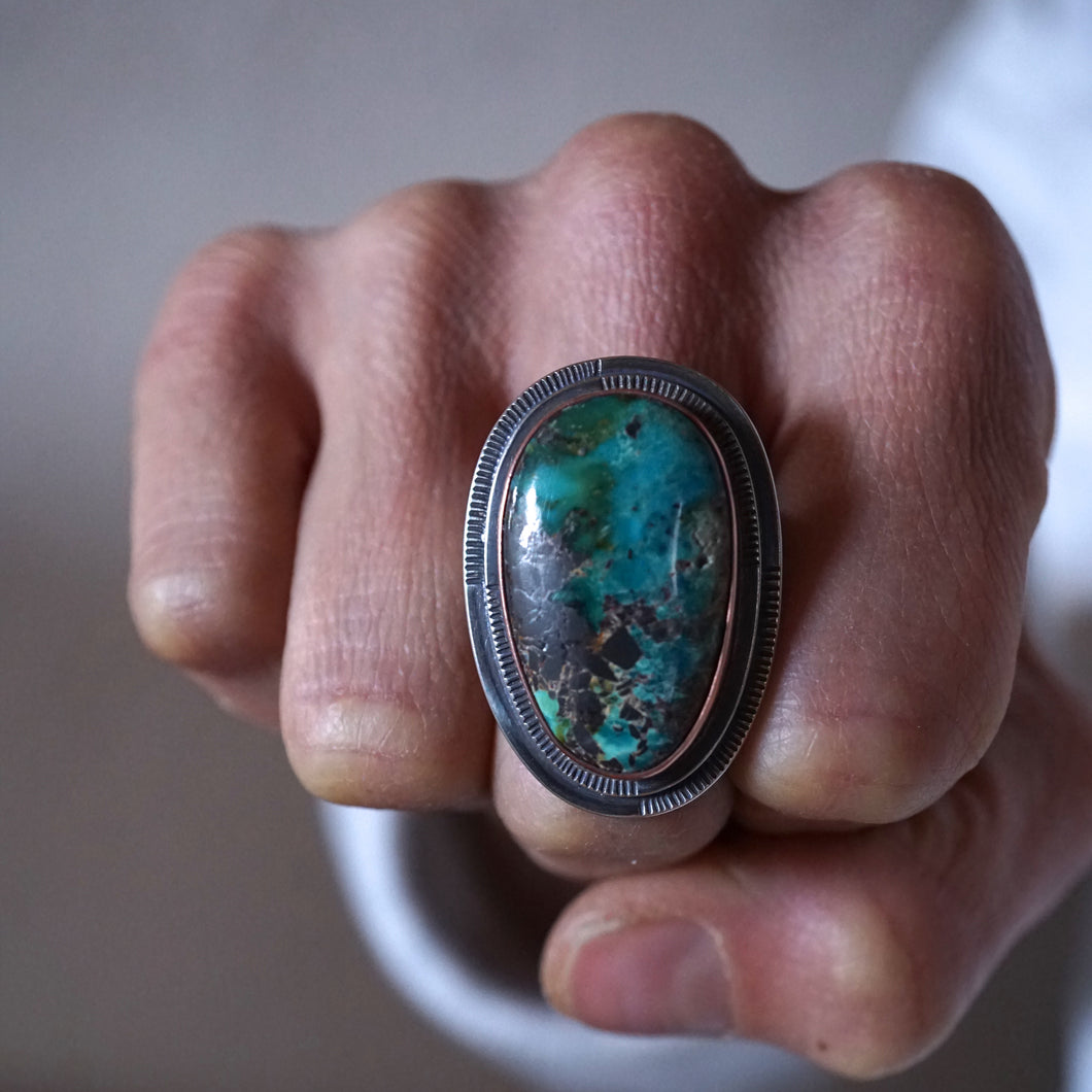 thunder mountain turquoise and copper statement ring