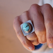 cheyenne turquoise ring with stamping and copper