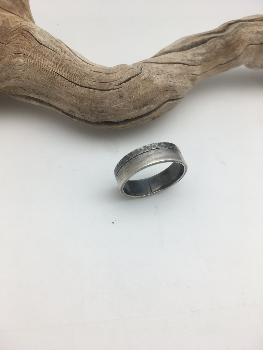 half-textured silver ring- size 9.75/10