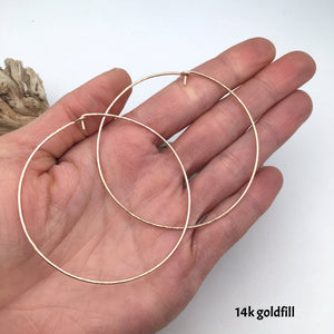 hammered hoop earrings - silver or 14k goldfill