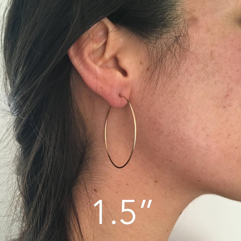 hammered hoop earrings - 3 sizes, silver or 14k goldfill