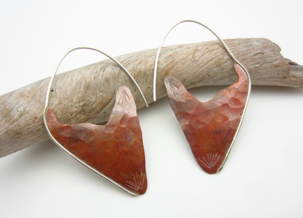 fiery copper earrings