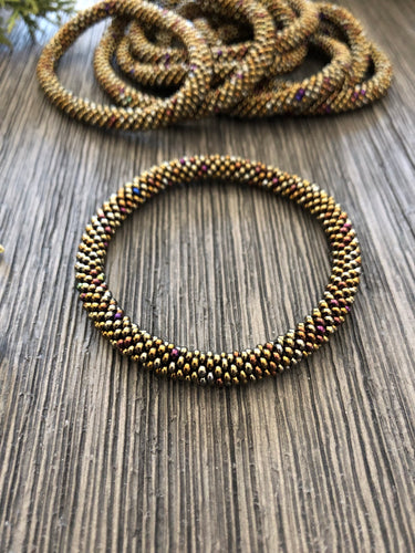 Metallic Bronze Beaded Bangle