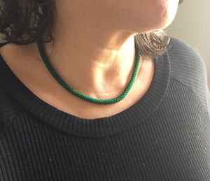 Forest Green Beaded Necklace