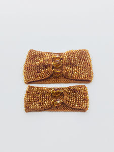 Mother Daughter Beaded Cuff Set in Amber Tones