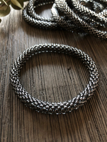 Grey Beaded Bangle