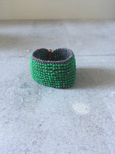 Green & Grey Beaded Cuff