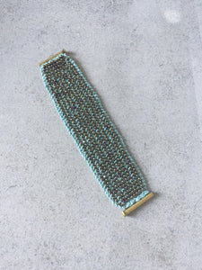 Women's Bronze on Aqua Beaded Cuff