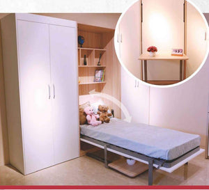 Vertical Single Space Saving Hidden Wall Bed With Table - Spacekoncept
