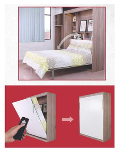 Electric Remote Control Queen's Size Murphy Wall Hidden Bed - Choice of with or without writing table - Spacekoncept