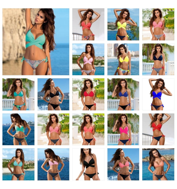 Mix & Match Halter Bikini Set Collection-(22 Colors)