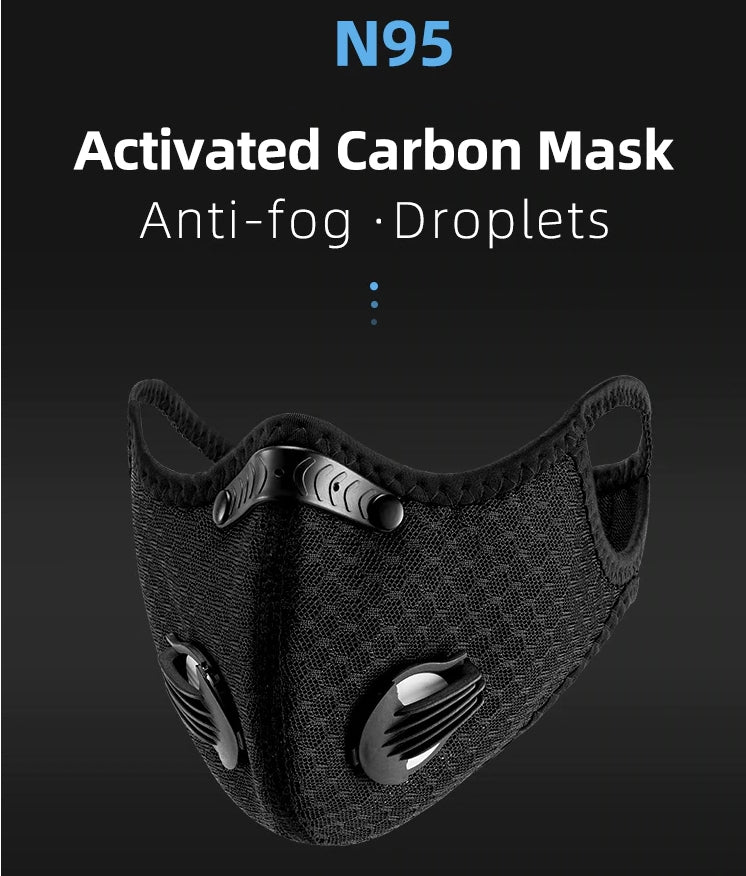 Washable, reusable face mask with replaceable carbon filter and two respirators