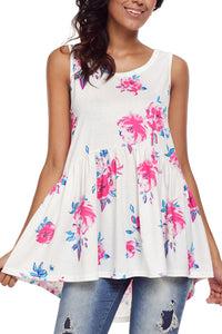 White Blooms Floral Print Sleeveless Babydoll Tank