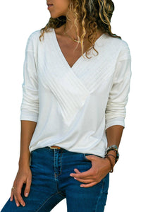 White Long Sleeve V Neck Casual Top