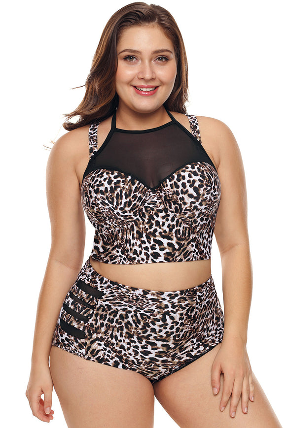 Leopard Print Plus Size Halter Push up Lattice Mesh Swim Bikini