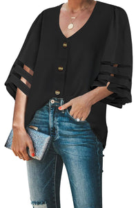Black Flare Sleeve V Neck Button Down Blouse