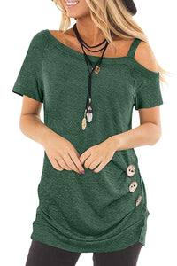 Green Sling Short Sleeve Casual Buttoned Top