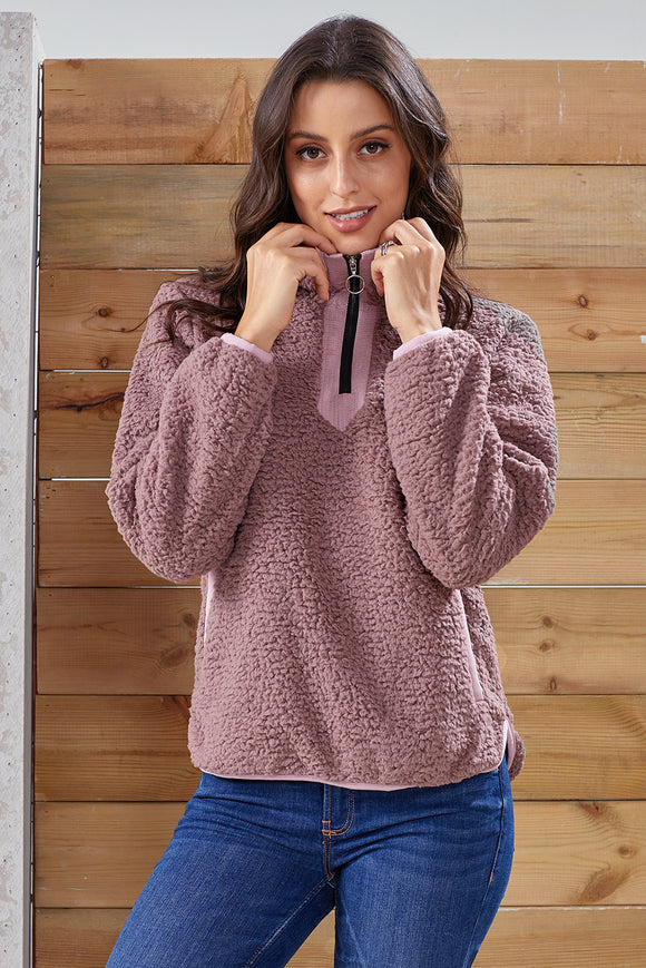 Mauve Zip Neck Furry Sweatshirt