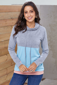Gray Blue Colorblock Thumbhole Sleeved Sweatshirt