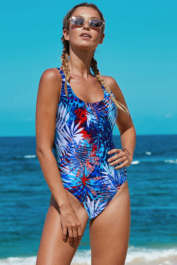 Blue Open Back Tropical Pattern Maillot