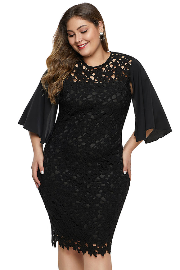 Black Flutter Slit Sleeve Crocthet Lace Plus Size Dress