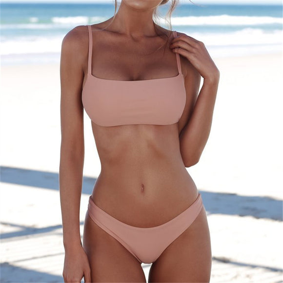 High/French Cut and Brazilian Style Bikinis-Women's Push Up Solid Color Classic Design Bikini Set - Shop at Creamtoe.com
