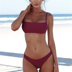 All Time Best Seller-Band Swim Top and Sexy High Cut Bottom Bikini Set-(4 Colors)