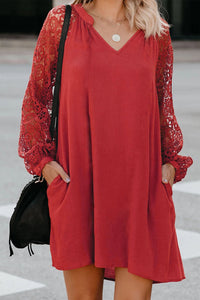 Red Lace Long Sleeves Shift Above Knee Dress