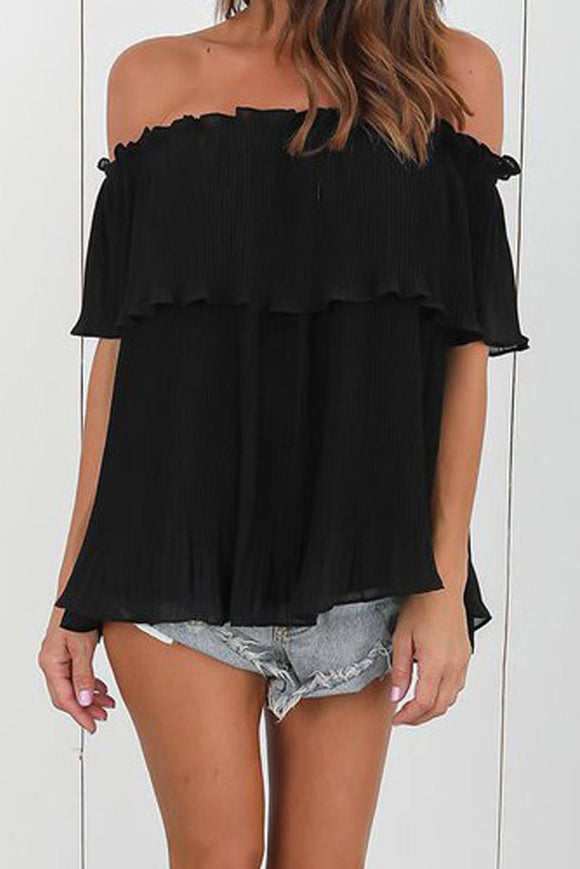 Black Off-Shoulder Pleated Ruffle Blouse