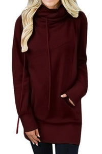 Burgundy Funnel Neck Long Sleeve Pocket Hoodie