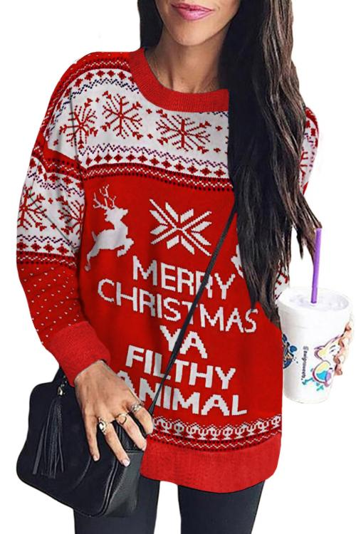Merry Christmas Ya Filthy Animal Snowflake Reindeer Ugly Christmas Sweater