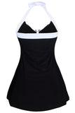 Black White Stripes Gold Trim One-piece Swimdress