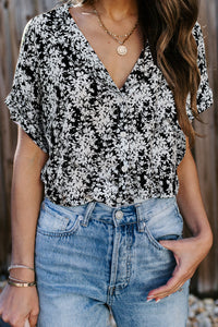 White Printed Button Front Top