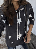 Gray Hooded Cotton Blend Star Sweatshirt