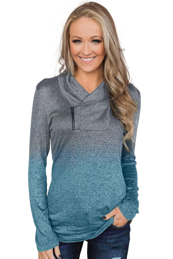 Sky Blue Ombre Long Sleeves Pullover Zipper Cowl Neck Sweatshirt